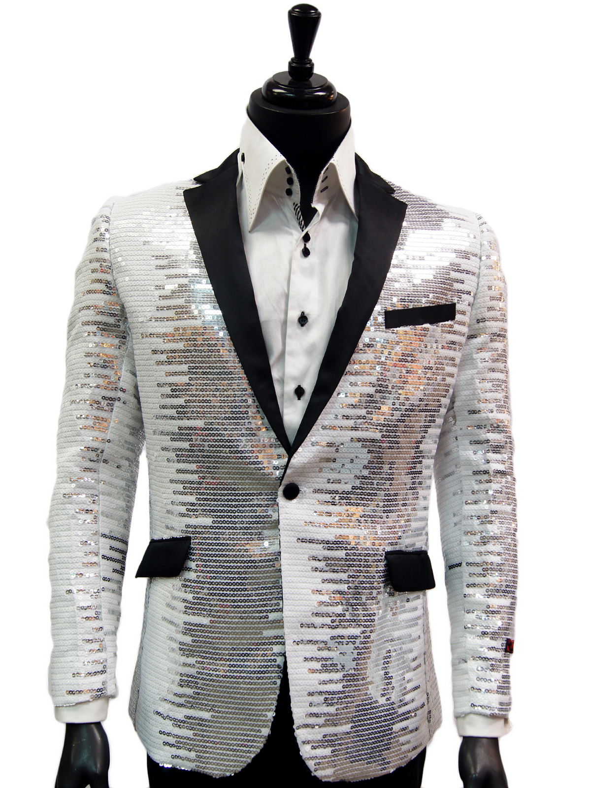 Manzini Men White Silver Sequin Satin Lapel Bling Fun