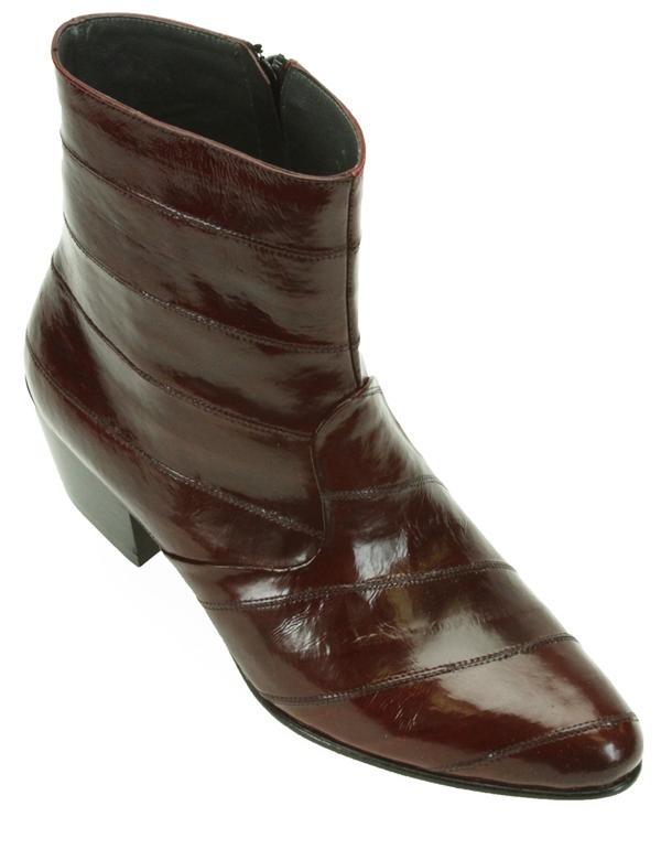Los Altos Eel Skin Mens Cuban Heel Ankle Boots
