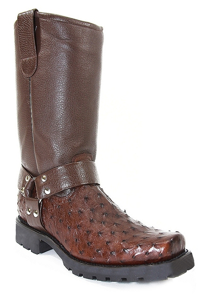 Ostrich Quill Biker Boots