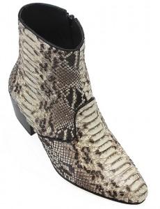 Mens Python Cuban Heel Ankle Boots