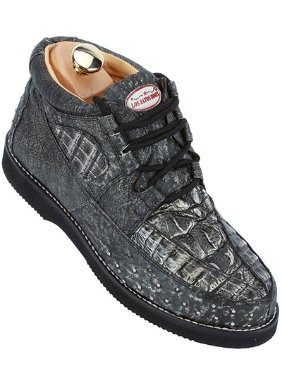 Rustic Black Alligator and Ostrich Casual Shoes