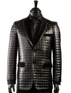 Blu Martini Black Quilted Vegan Leather Velvet Lapel Blazer