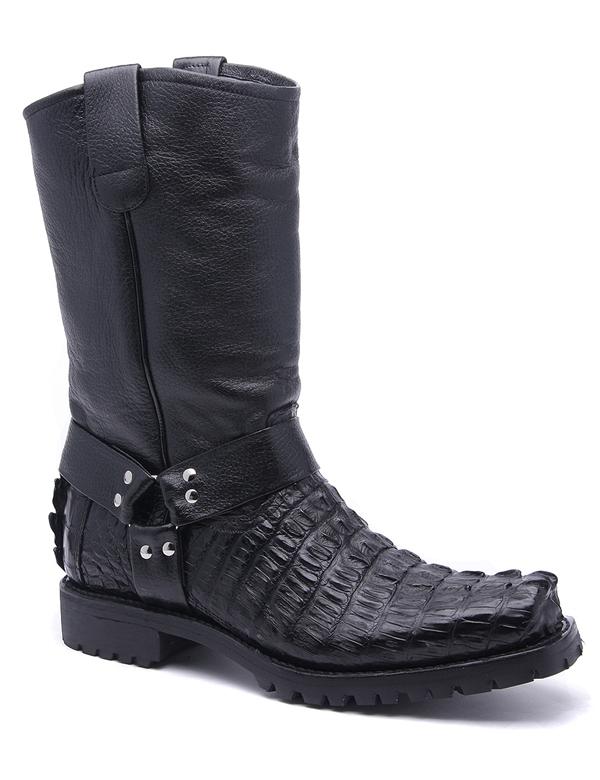 Los Altos Men Black Genuine Alligator Skin Square Toe