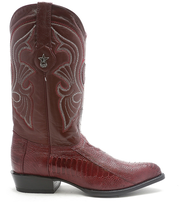216334567e9 Los Altos Mens Authentic Ostrich Skin Burgundy Trendy Western Cowboy J Toe  Boot