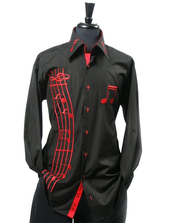 Axxess mens high collar cotton music notes black red for Mens high collar dress shirts