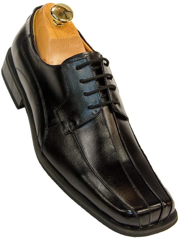 Zota Classic Mens Black Leather Lace Up Square Toe Dress