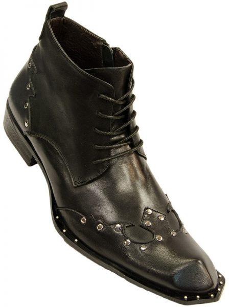 zota mens black leather metal studded rock n roll wing tip