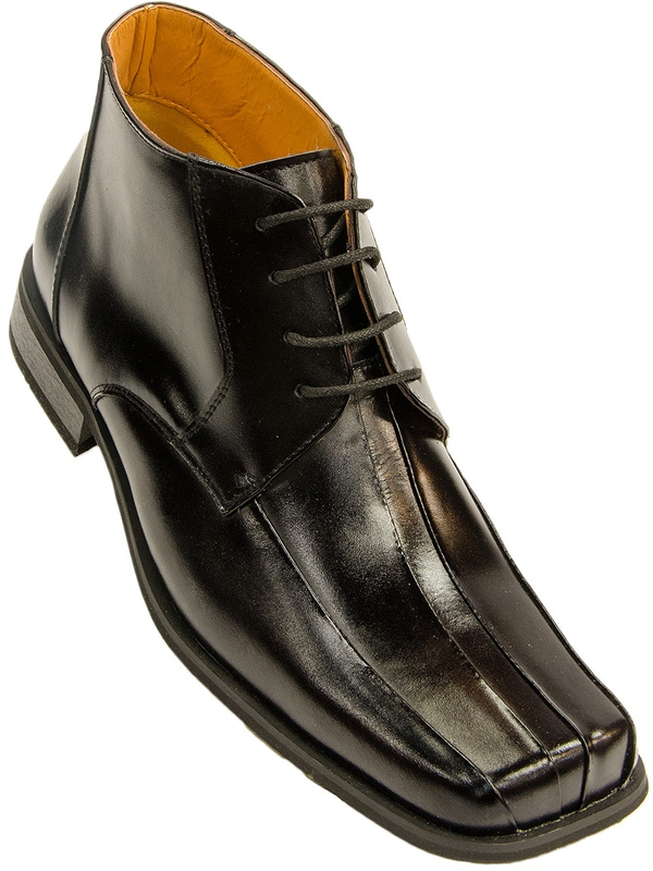Zota Mens Black Leather Lace Up Square Toe Ankle Dress