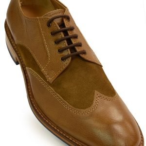 Kenneth Cole Mens Tan Leather/Suede Wing Tip Lace Up Shoes