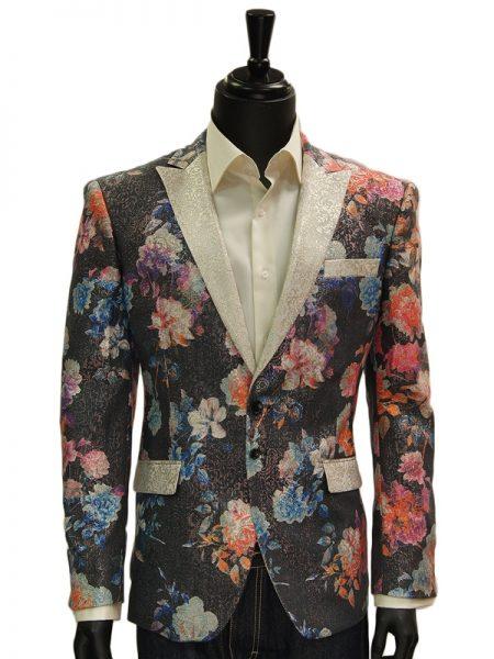 Angelino Mens Multi Color Pastel Metallic Floral Print