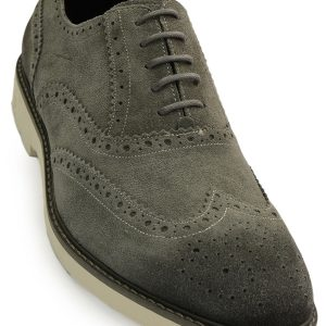 Kenneth Cole Reaction Mens Grey Wing Tip Lace Up Oxford