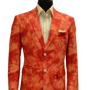 Cigar Orange Red Mens Bold Tie Dye Design Two Button Casual Blazer
