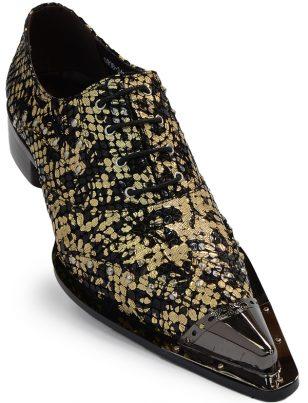 Zota Gold Black Metallic Leather Point Toe Lace Up Shoe