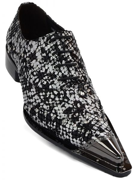Zota Mens Silver Black Metallic Leather Metal Point Toe Trendy Lace Up Fun Shoe