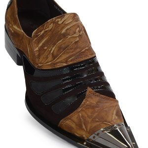 Mens Zota Brown Copper Patent Leather SlipOn Dress Party Pointed Metal Tip Shoe