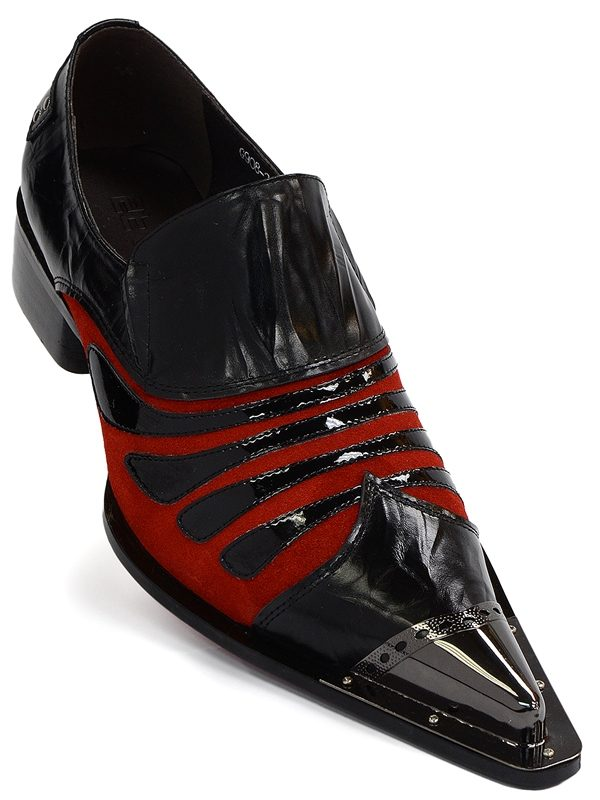 Zota Mens Black Red Patent Leather Metal Tip Slip On Trendy Party Loafer Shoe