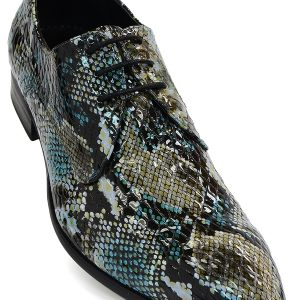 Fiesso Blue Olive Green Black Leather Metallic Snakeskin Cap Toe Lace Up Shoe