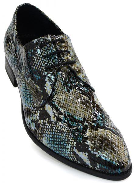 Fiesso Blue Olive Green Black Leather Metallic Snakeskin Cap Toe Lace Up Shoe