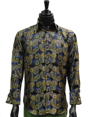 Manzini Mens Black Multi Paisley Jaquard Party Dress Button Up Cuff Shirt