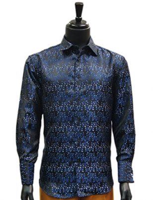 Manzini Mens Blue Paisley Jaquard Party Dress Button Up Cuff Shirt