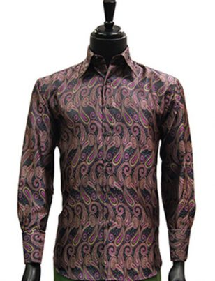 Manzini Mens Gray Magenta Paisley Jaquard Party Dress Button Up Cuff Shirt