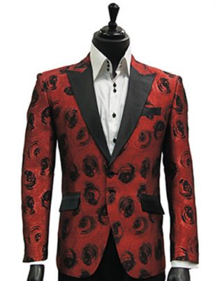 Angelino Men Red Black Metallic Woven Jacquard Floral Rose Dress Prom Blazer