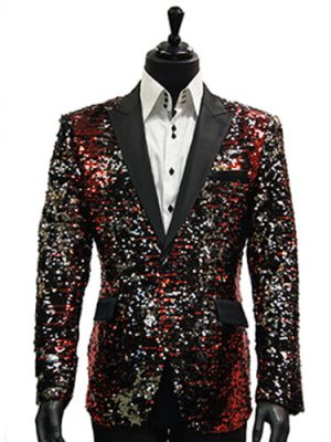 Angelino Mens Red Black Silver Allover Sequin Dress Fun Party Prom Blazer