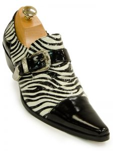 Fiesso Mens Black White Leather Zebra Design Buckle Slip on Dress Shoe