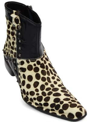 Fiesso Leopard Cheetah Design Pony Hair Leather Casual Party Trendy Ankle Boot