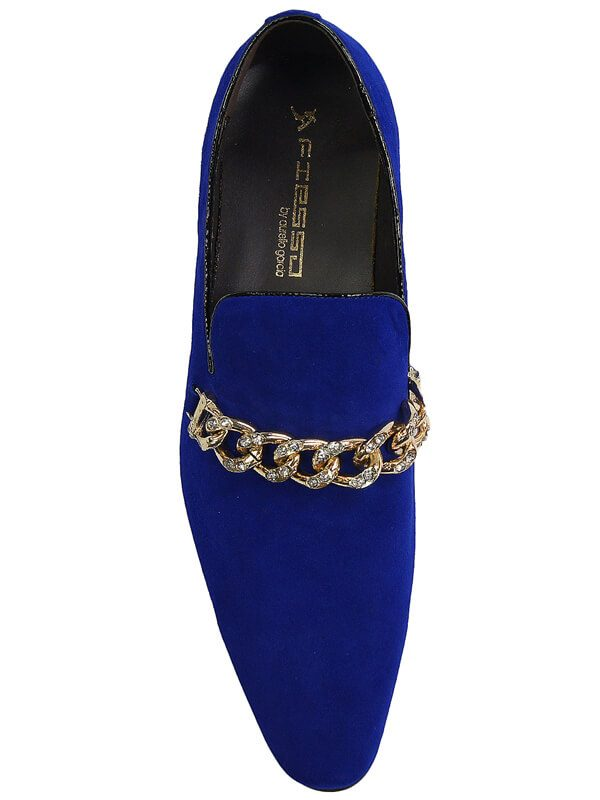 Fiesso Mens Royal Blue Suede Gold Metal Bling Chain Point Toe Slip On Shoe