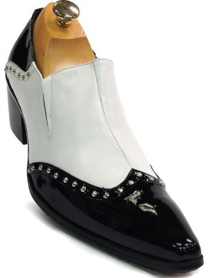 Mens Fiesso Black White Leather Silver Studs Point Toe Formal Party Slip On Shoe