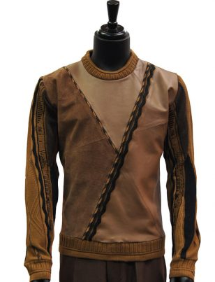 Steven Land Mens Brown Leather Suede Dress Casual Crewneck Cotton Sweater