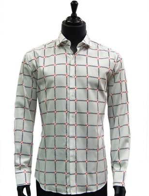 Lanzzino Mens White Red Multi Plaid Button Down Long Sleeves Dress Causal Shirt