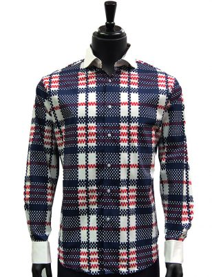 Lanzzino Mens Navy Red White Plaid White Collar French Cuff Dress Casual Shirt