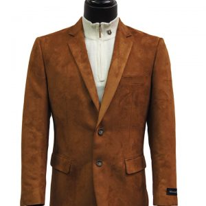 Afazzy Men Cognac Micro Suede Notch Lapel Two Button Casual Work Blazer