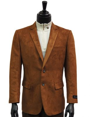 Affazy Mens Cognac Micro Suede Notch Lapel Two Button Dress Casual Work Blazer