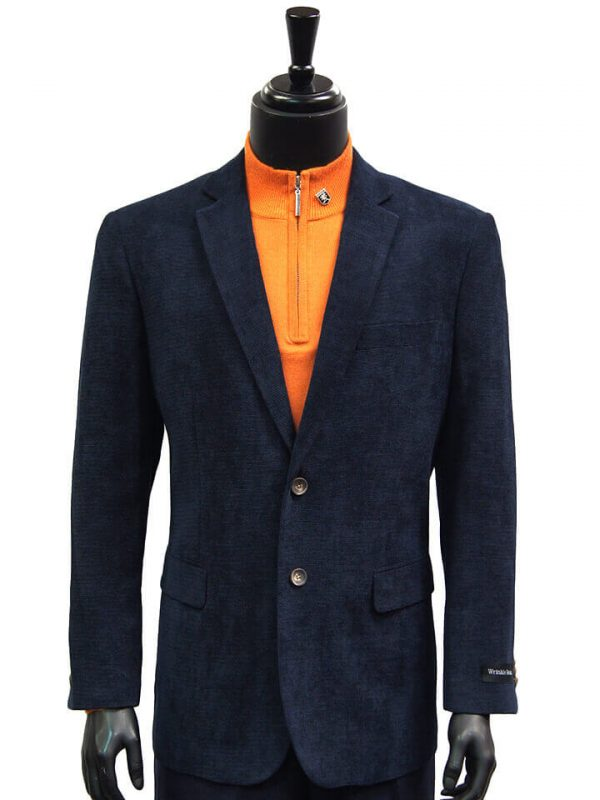 Affazy Mens Navy Chenille Textured Wrinkle Resistant Two Button Dress Blazer