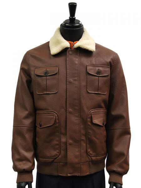 SilverSilk Cognac Faux Leather Fur Collar Winter Coat