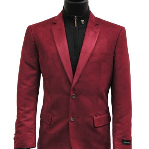 Afazzy Men Cranberry Wine Ultra Faux Suede 2 Button Dress Casual Work Blazer