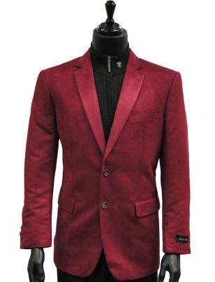Affazy Mens Cranberry Red Micro Suede Two Button Dress Blazer