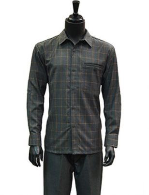 Stacy Adams Mens Charcoal Gray Glenn Plaid 2Pc Dress Casual LS Walking Suit