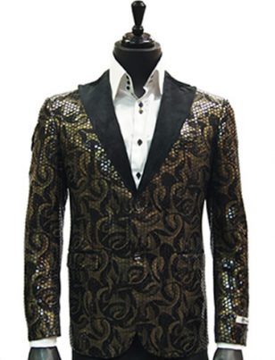 Giovanni Men Brown Gold Sequin Ribbon Black Satin Lapel Trendy Dress Fun Blazer