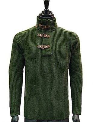 LaVane Olive Green Leather Buckle Collared Sweater