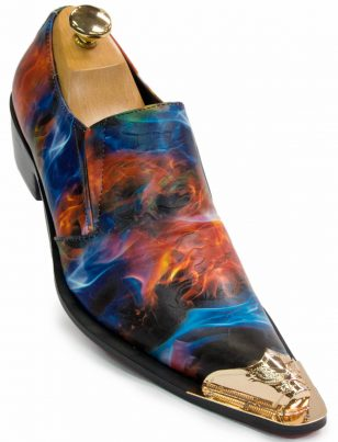 Fiesso Mens Multi Color Leather Gold Metal Cap Point Toe Slip On Fashion Shoe