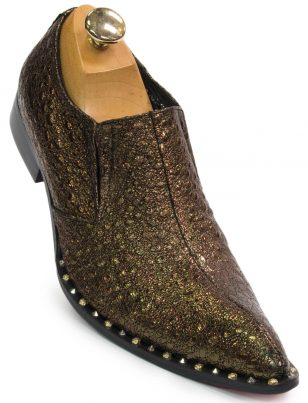 Fiesso Mens Gold Leather Glitter Studded Point Toe Formal Fashion Bling Shoe