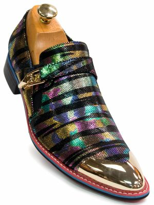 Fiesso Mens Pink Multicolor Metallic Chrome Gold Cap Toe Buckle Loafer Shoe