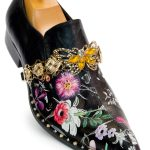 Fiesso Mens Black Multicolored Floral Butterfly Embellish Studded Slip On Shoe