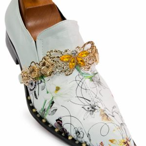 Fiesso Mens White Multicolored Floral Butterfly Embellish Studded Slip On Shoe