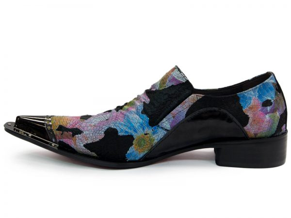 Fiesso Mens Black Multicolor Butterfly Print Pony Hair Cap Toe Shoe