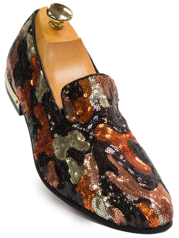 Fiesso Mens Orange Multi Camouflage Sequin Slip On Loafer Shoe